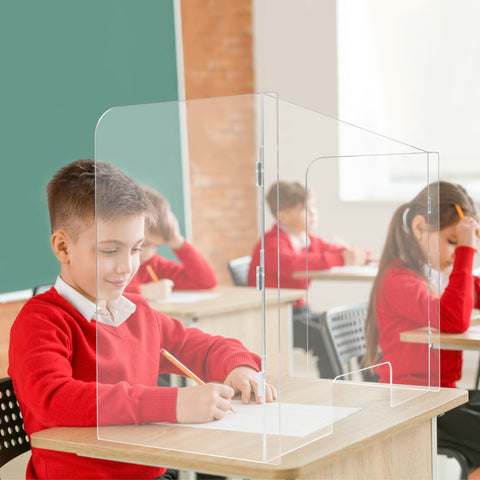 School Student 3-Sided Sneeze Guard Clear Protective Barrier