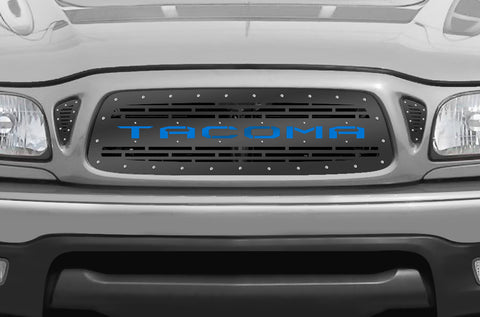 1 Piece Steel Grille for Toyota Tacoma 2001-2004 - TACOMA V2 with BLUE ACRYLIC UNDERLAY