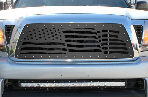 3 Piece Steel Grille for Toyota Tacoma 2005-2011 - WAVY AMERICAN FLAG