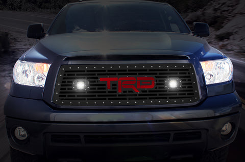 1 Piece Steel Grille for Toyota Tundra 2010-2013 - TRD + LED Light Pods + Red Acrylic