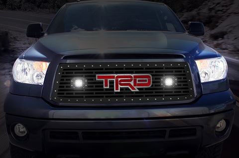 1 Piece Steel Grille for Toyota Tundra 2010-2013 - TRD + LED Light Pods + Red Acrylic + SS