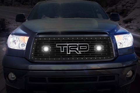 1 Piece Steel Grille for Toyota Tundra 2010-2013 - TRD + LED Light Pods + Stainless Steel Accent