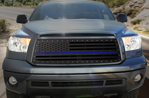1 Piece Steel Grille for Toyota Tundra 2010-2013 - AMERICAN FLAG w/ BLUE ACRYLIC UNDERLAY