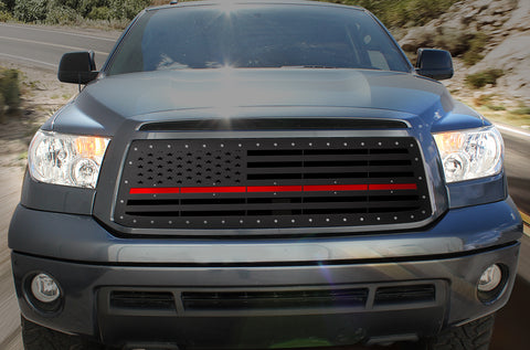 1 Piece Steel Grille for Toyota Tundra 2010-2013 - AMERICAN FLAG w/ RED ACRYLIC UNDERLAY