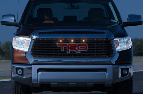 1 Piece Steel Grille for Toyota Tundra 2014-2017 - TRD w/ SS OVERLAY, RED ACRYLIC and 3 AMBER RAPTOR LIGHTS