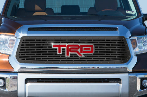 1 Piece Steel Grille for Toyota Tundra 2014-2017 - STAINLESS STEEL TRD INLAY WITH ACRYLIC UNDERLAY