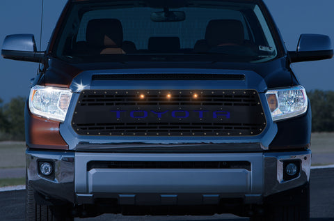 1 Piece Steel Grille for Toyota Tundra 2014-2017 - TOYOTA V3 w/ BLUE ACRYLIC UNDERLAY and 3 AMBER RAPTOR LIGHTS