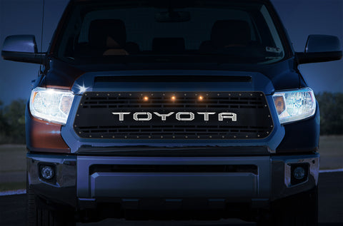 1 Piece LED X-Lite Steel Grille for Toyota Tundra 2014-2017 - TOYOTA V3 WITH 3 AMBER RAPTOR LIGHTS
