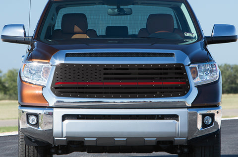 1 Piece Steel Grille for Toyota Tundra 2014-2017 - AMERICAN FLAG w/ RED ACRYLIC UNDERLAY