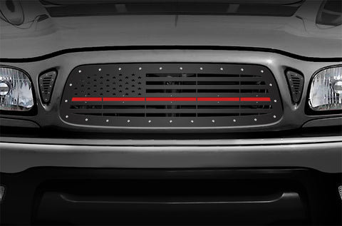 1 Piece Steel Grille for Toyota Tacoma 2001-2004 - AMERICAN FLAG with RED ACRYLIC UNDERLAY
