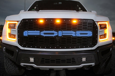1 Piece Steel Grille for Ford Raptor SVT 2017-2020 - FORD BLUE LED X-LITE