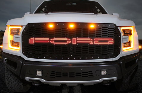1 Piece Steel Grille for Ford Raptor SVT 2017-2020 - FORD RED LED X-LITE