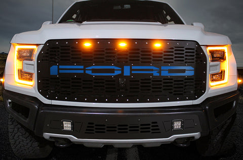 1 Piece Steel Grille for Ford Raptor SVT 2017-2020 - FORD w/ BLUE ACRYLIC UNDERLAY