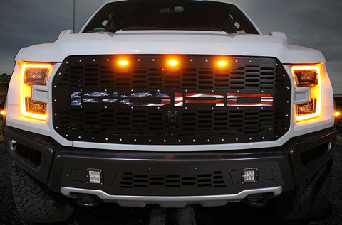 1 Piece Steel Grille for Ford Raptor SVT 2017-2020 - FORD w/ AMERICAN FLAG UNDERLAY