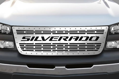 1 Piece Steel Grille for Chevy Silverado 2003-2007 - SILVERADO with STEEL FINISH