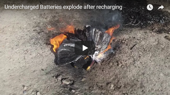 Undercharged Batteries explode after recharging