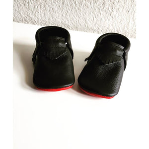 Baby soft soled shoes, black with red bottoms shoes - LUXE + RO