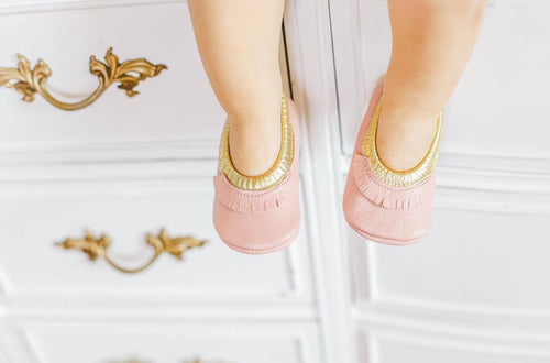 Ballerinas - Pink and Gold fringed - LUXE + RO