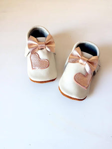 Mocasins with heart - Cream & gold rose