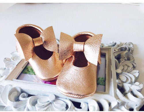 Mary Janes - Gold Rose & small bow - LUXE + RO