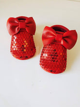 Moccasins - Red Sparkled + BOW - LUXE + RO