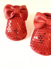 Moccasins - Red Sparkled + BOW