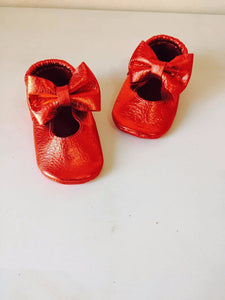 Mary Janes - Metallic Red + BIG BOW