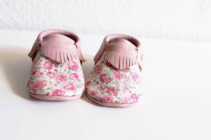 Baby soft soled shoes - Flower + Pink - LUXE + RO