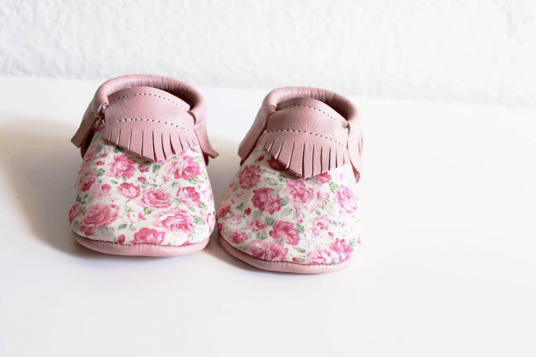 Baby soft soled shoes - Flower + Pink