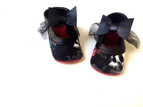 Halloween Red and black Skulls Mary Janes with Tulle