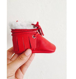 Santa Booties with Faux Fur