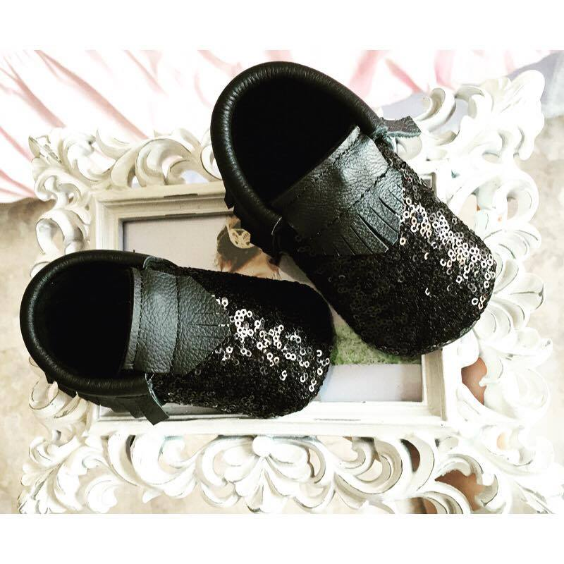 BLACK SPARKLED MOCCASINS - LUXE + RO