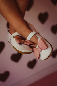 White Mary Janes/Straps and pink bow