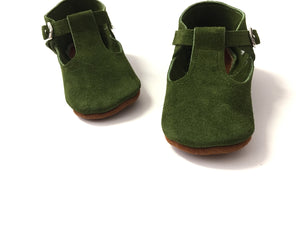 T-straps - Suede Green / Pistacho