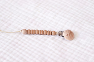 Wooden Pacifier Clip | Nude - LUXE + RO
