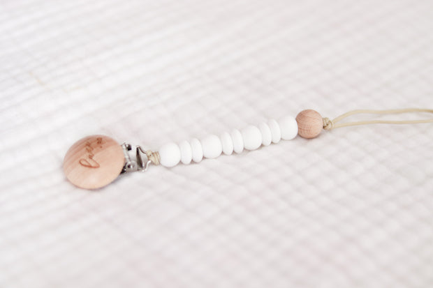 Wooden Pacifier Clip   White 1