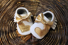 Mocasins with heart - White & Gold + Bow - LUXE + RO