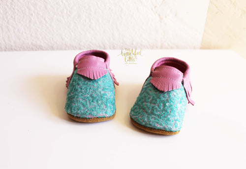 Mermaid sparkled Moccasins