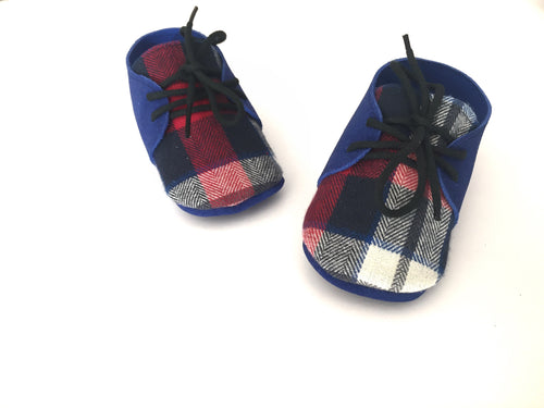 Oxfords- Buffalo Plaid ( blue ) - Toddler oxfords