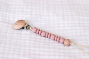 Wooden Pacifier Clip | Soft Pink Blush - LUXE + RO