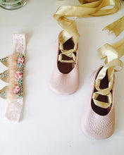 baby pink ballerinas-gold laces-baby shoes-soft soled shoes