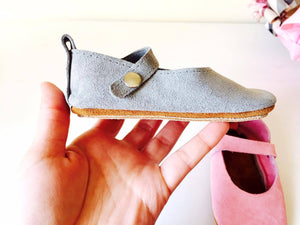 baby girl shoes-mary janes-grey shoes-gray shoes-baby mary janes-hard soles