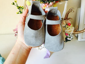 Mary Janes - Grey suede, baby girl shoes, toddler Mary Janes - LUXE + RO