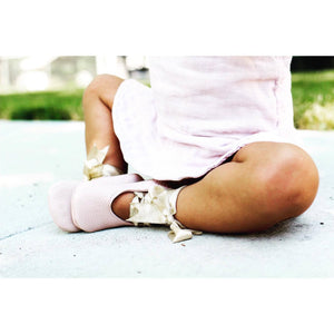 baby pink ballerinas-gold laces-baby shoes-soft soled shoe
