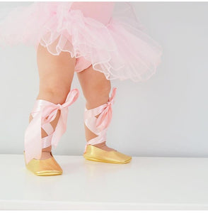 Ballerinas - Gold / Pink laces