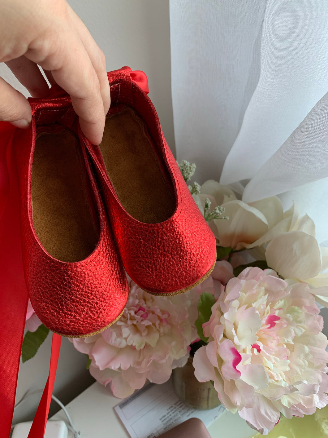 Metallic Red Ballerinas - LUXE + RO