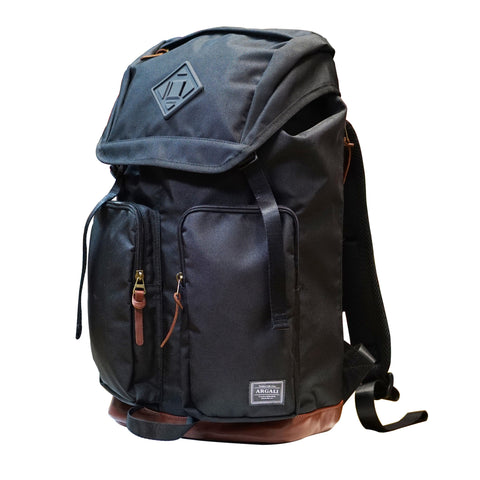 Racoon Backpack BLACK with Premium BROWN Leather