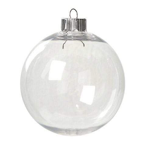 CraftHTV.com Blanks Clear Plastic Christmas Ornament - Round - 83mm