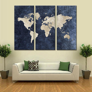 3 Pieces Modern Abstract Blue World Map Canvas Painting