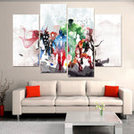 4 Pieces The Avengers Watercolor Canvas Painting